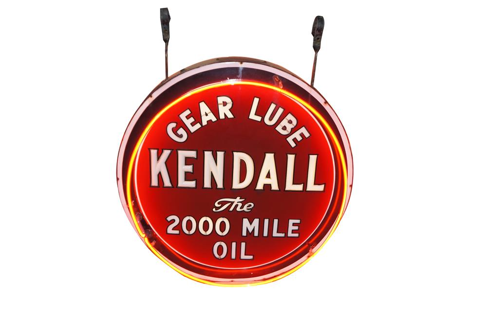 Lot #5894 Museum quality 1930's Kendall Motor Oil internally lit milk glass double-sided porcelain automotive garage sign with neon.