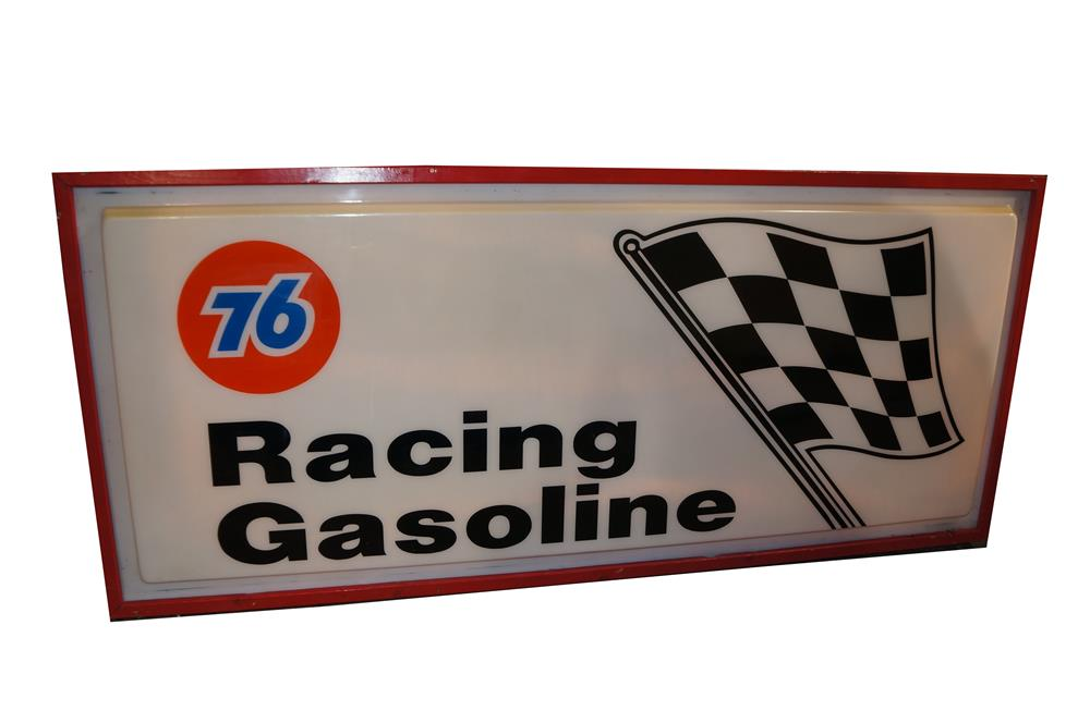 Large Union 76 Racing Gasoline single-sided light-up raceway sign with checkered flag logo. - Front 3/4 - 184614