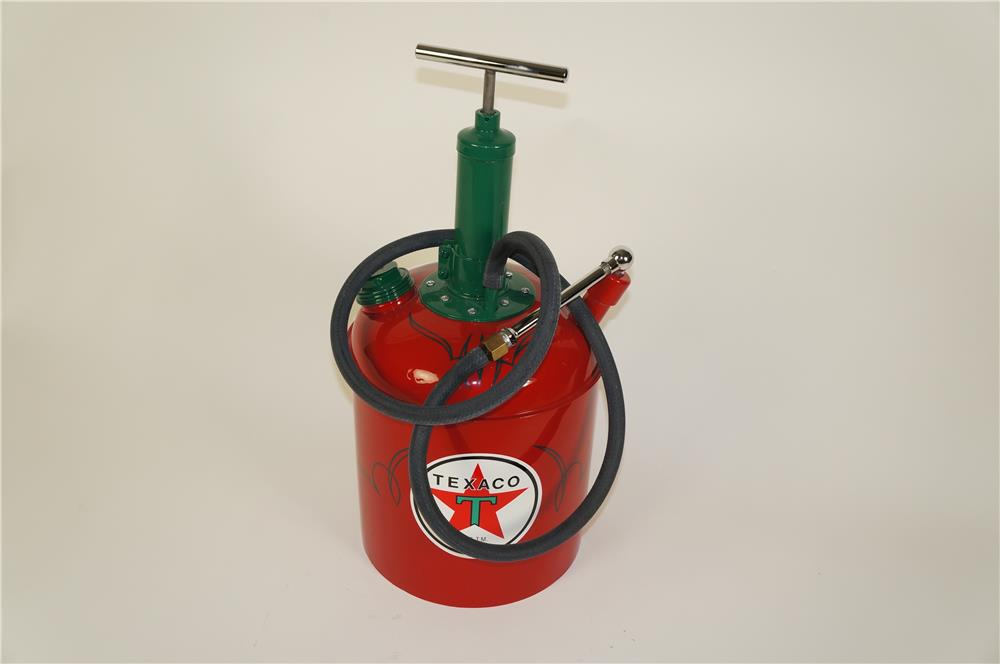 Nicely restored 1940's Texaco Oil five gallon hand pump greaser. - Front 3/4 - 184625