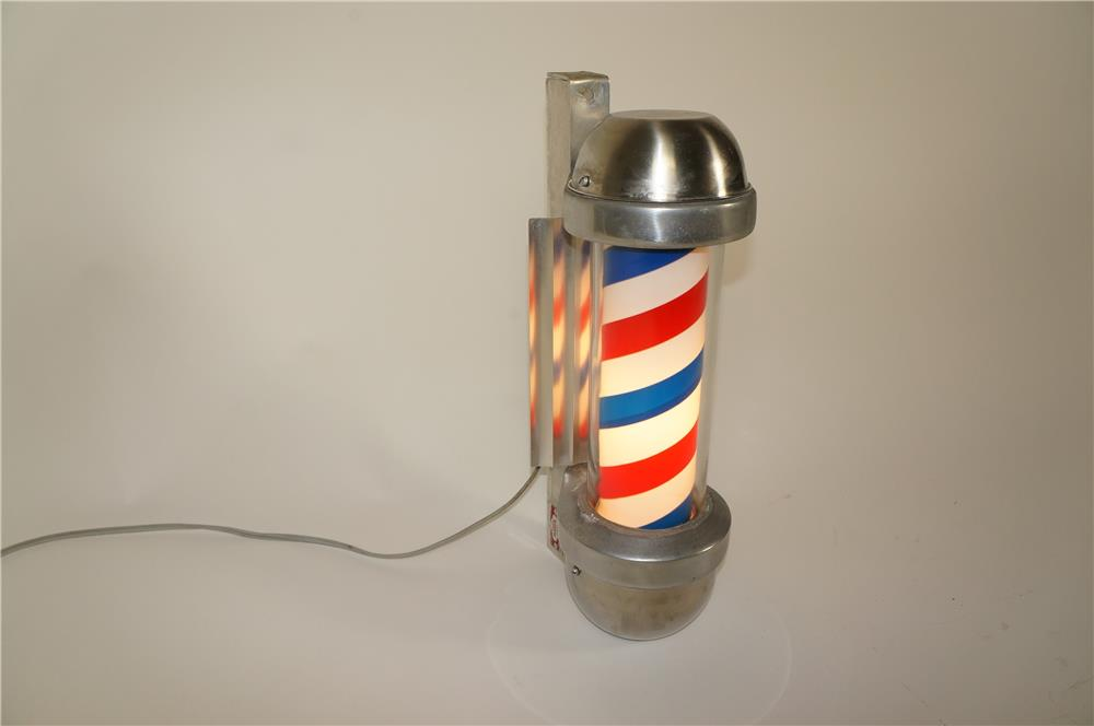 1950s Marvy rotating light-up chrome Barber Shop pole.  Lights and works perfectly! - Front 3/4 - 184651