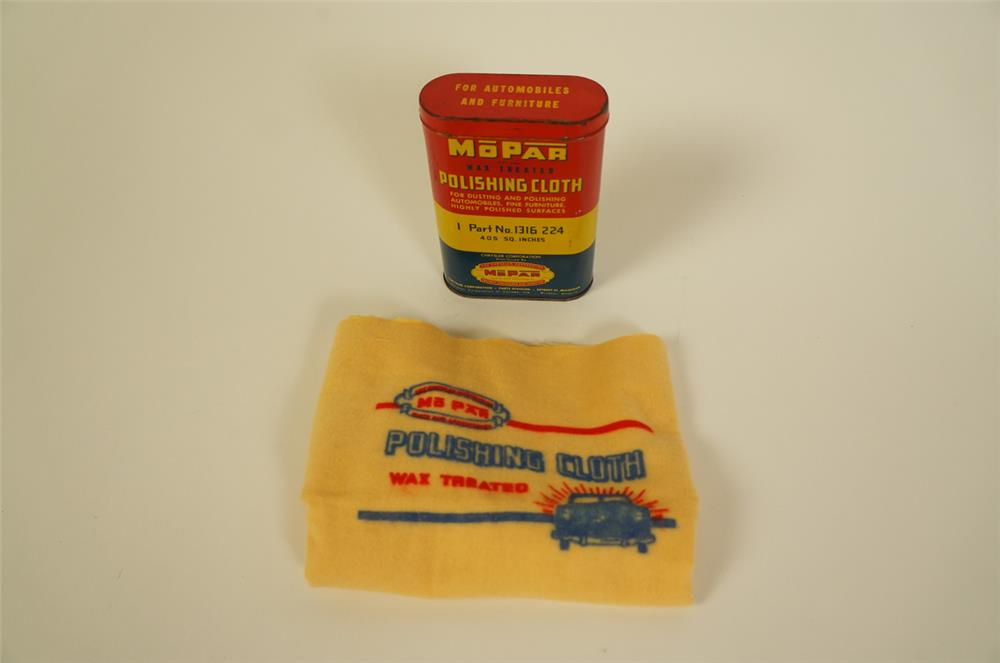 Circa 1940s-50's Mopar Parts Polishing Cloth tin with original unused Mopar cloth. - Front 3/4 - 184657