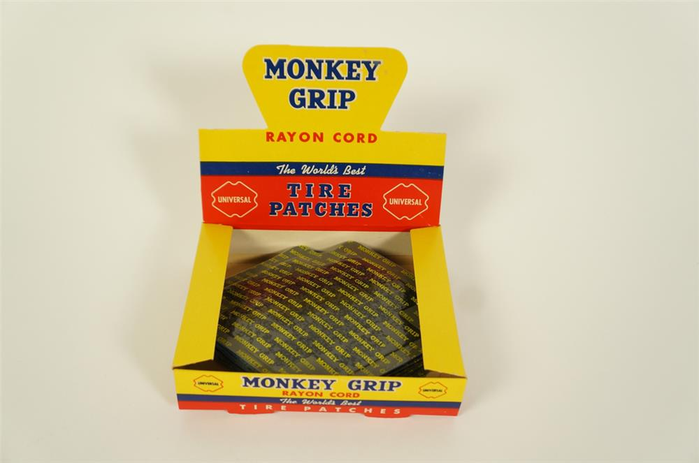 NOS circa 1950s Monkey Grip Tires Patches automotive garage counter top display found unused. - Front 3/4 - 184662