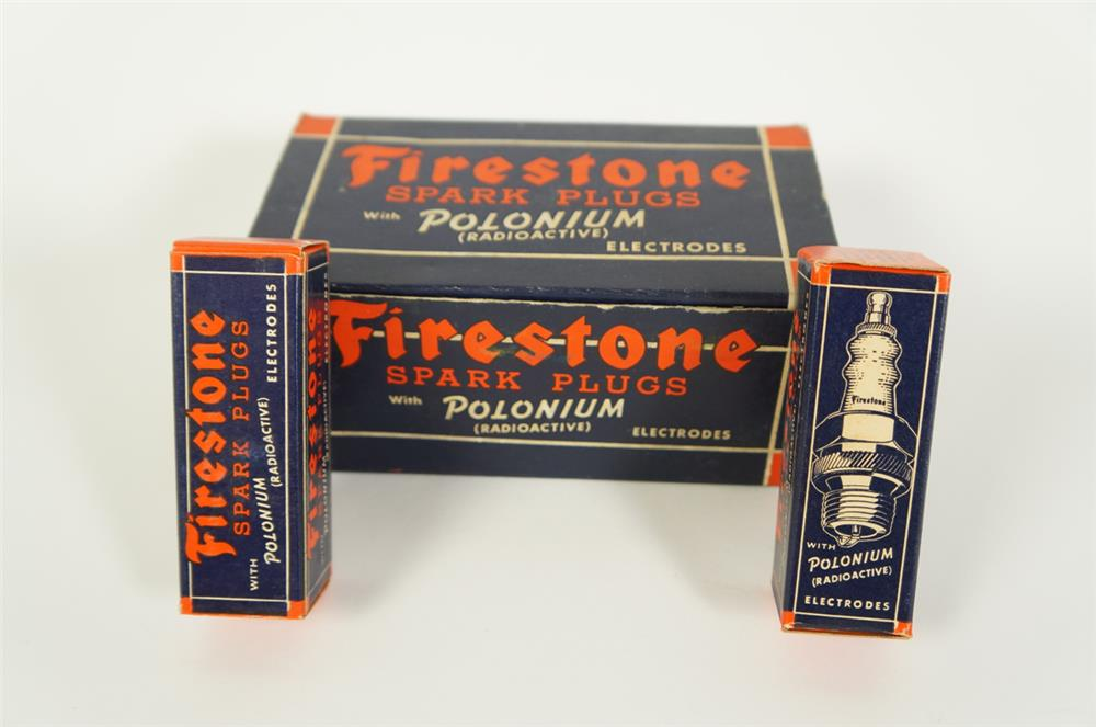 Large circa 1930s Firestone Spark Plugs service department counter top display box filled with original unused plugs. - Front 3/4 - 184663