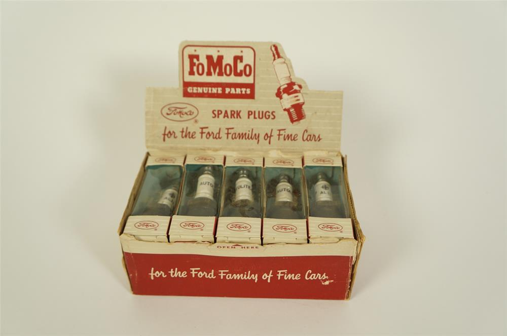 Scarce 1950s NOS FoMoCo (Ford Motor Company) Genuine Parts counter top display box filled with original NOS plugs. - Front 3/4 - 184664