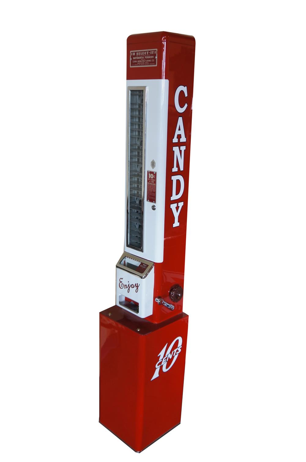 Perfectly restored 1950's U-Select-It service station/movie theater ten cent coin-operated candy machine. - Front 3/4 - 184689