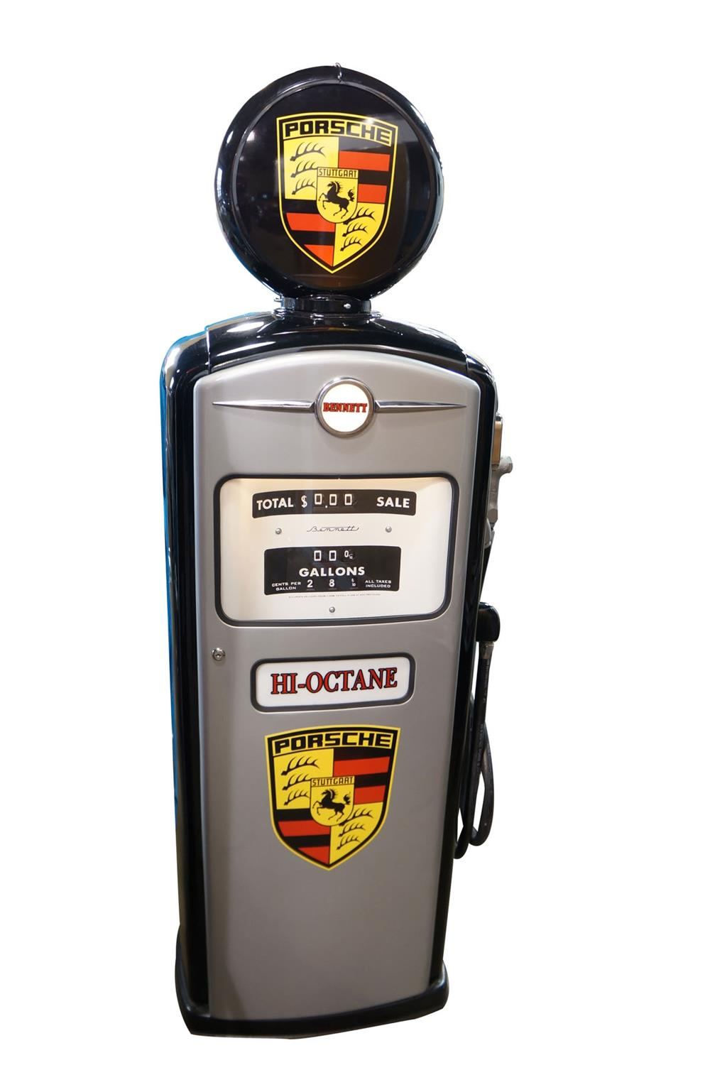 Stylish late 1956 Bennett model #966 service department gas pump restored in Porsche regalia. - Front 3/4 - 184690