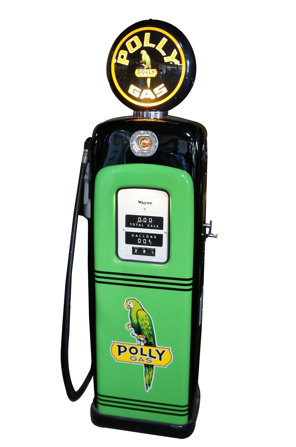 Good looking 1950s Polly Oil Wayne model 80 restored service station gas pump with sight gauge. - Front 3/4 - 184697