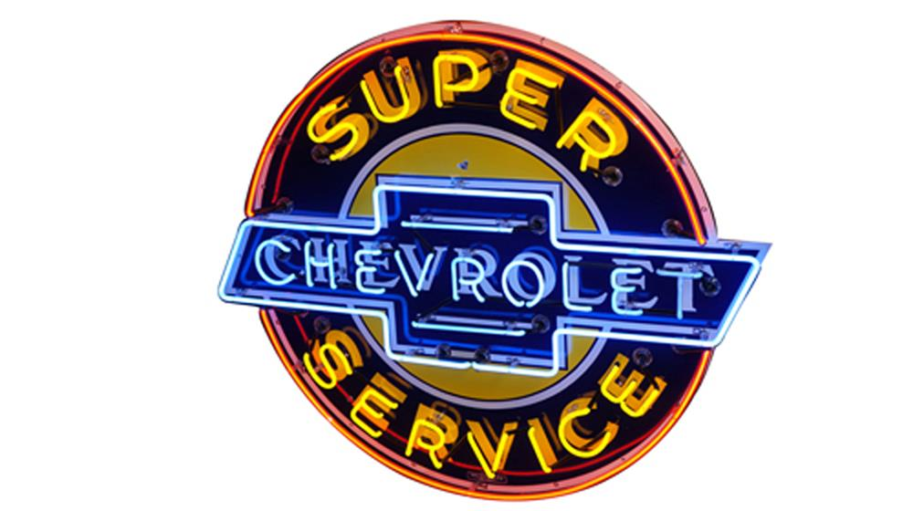Highly desirable 1940's Chevrolet Super Service single-sided neon porcelain dealership sign. - Front 3/4 - 184699