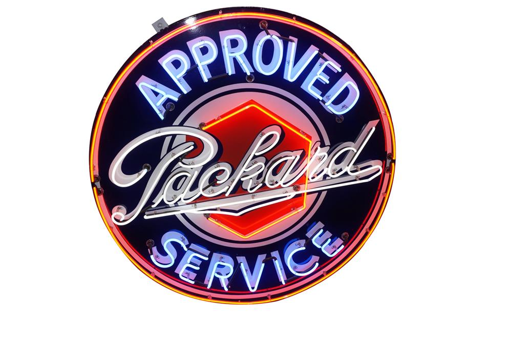 Stunning 1930's-40's Packard Approved Service single-sided porcelain with neon dealership sign. - Front 3/4 - 184700
