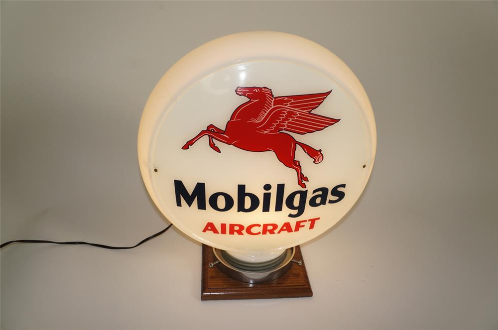 Rare Mobilgas Aircraft narrow bodied milk glass aviation gas pump globe with Pegasus logo. - Front 3/4 - 184701