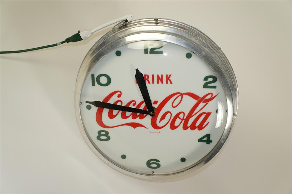 Fabulous 1950's Drink Coca-Cola aluminum bodied light-up diner clock. - Front 3/4 - 184702