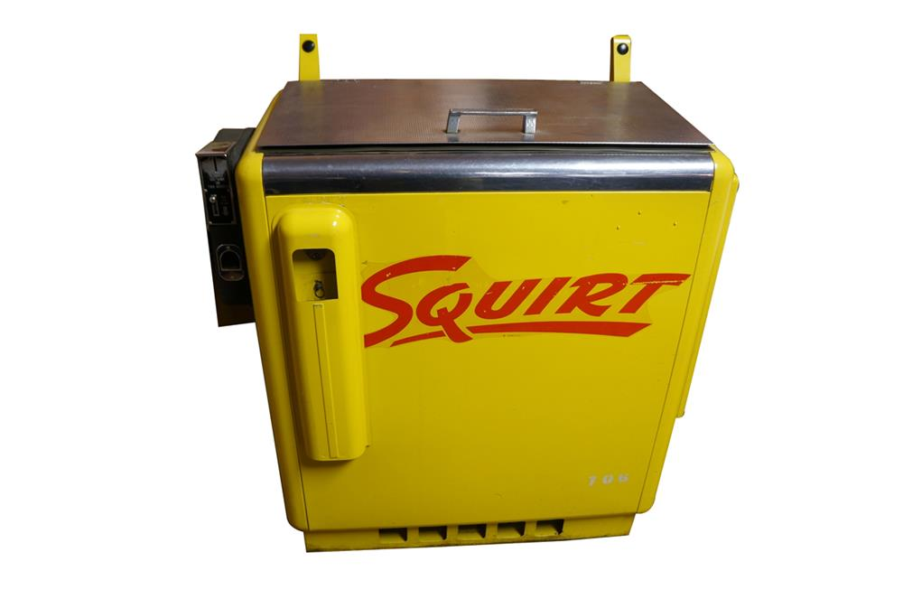 Exceptional all original 1950's Squirt Soda Ideal model #55 ten cent coin-operated slider soda machine. - Front 3/4 - 184704