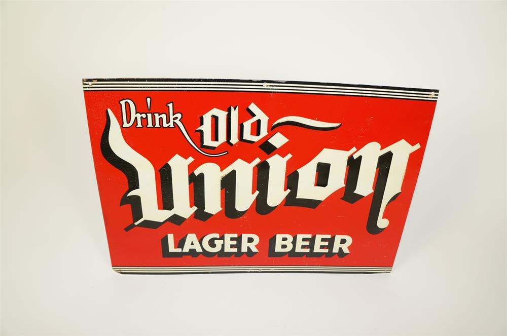 NOS 1930s Drink Old Union Lager Beer single-sided tin tavern sign with art deco influence. - Front 3/4 - 184709