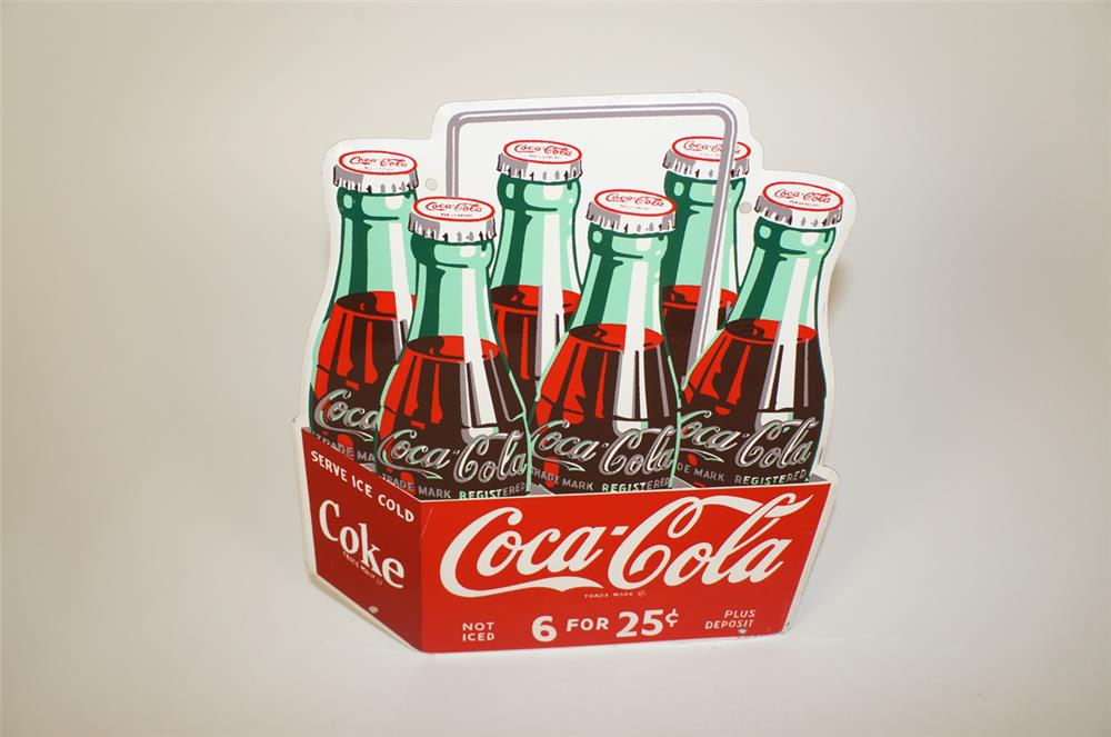 Rare NOS 1950 Coca-Cola Six for 25 Cents die-cut tin six pack shaped sign with handle. - Front 3/4 - 184711