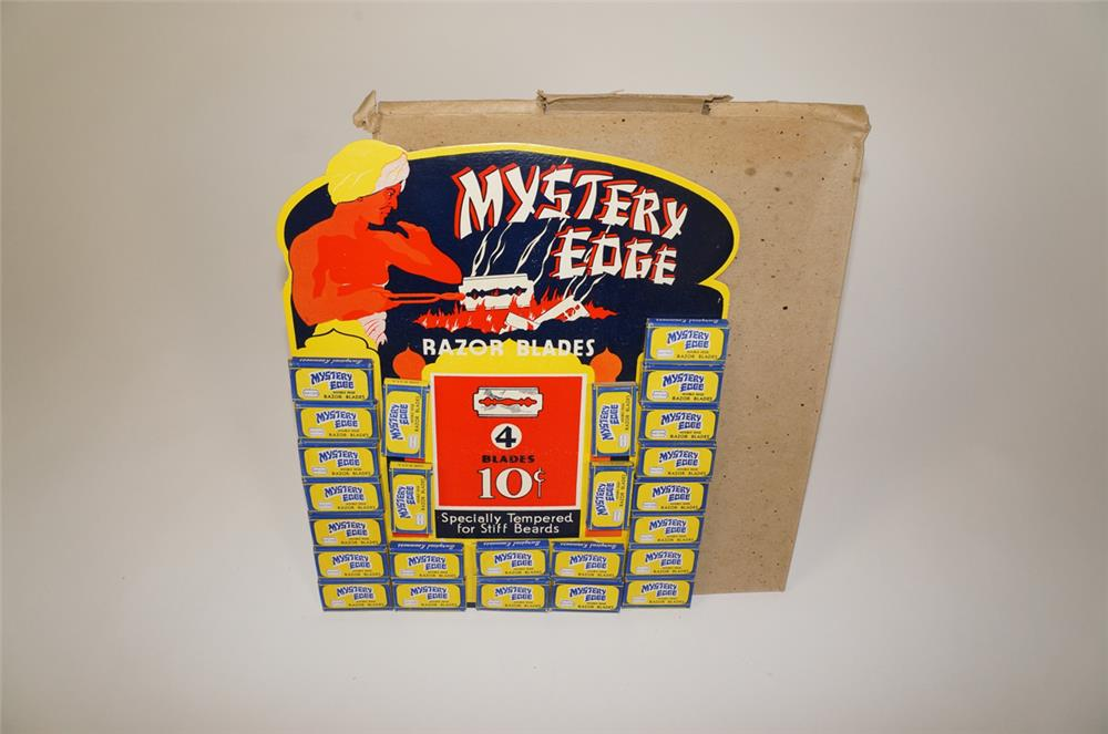 NOS 1920s-30s Mystery Edge Razor Blades store display filled with NOS product. - Front 3/4 - 184713
