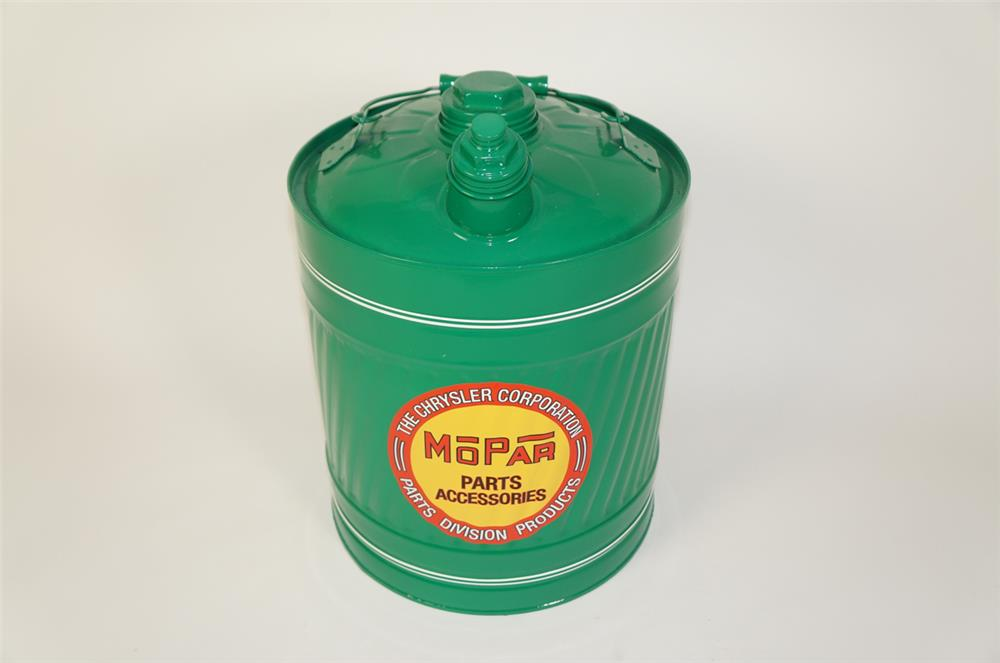 Large 1940s Mopar service department restored five gallon multi-fluid tin with handle. - Front 3/4 - 184719