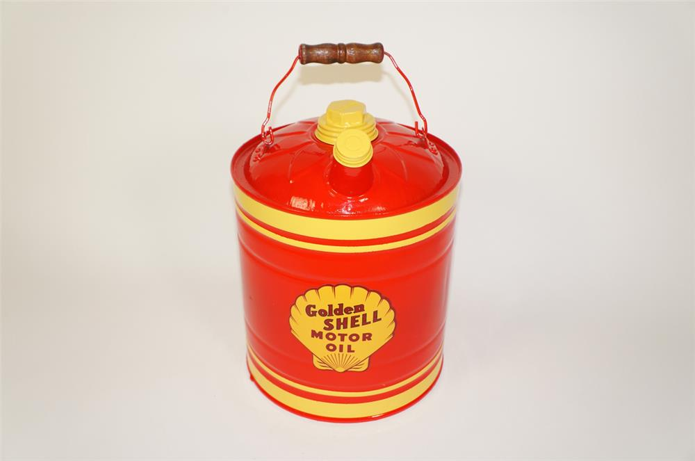 Choice 1940s Shell Oil restored two gallon service department multi-fluid tin with handle. - Front 3/4 - 184720