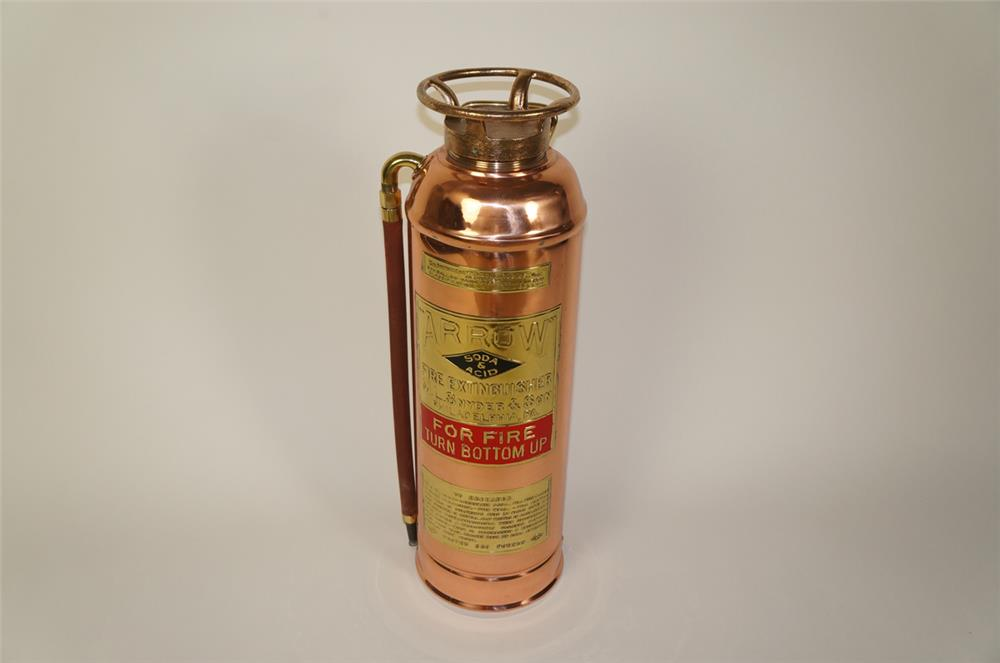Beautifully restored early teens Arrow soda and acid filling station brass fire extinguisher. - Front 3/4 - 184723