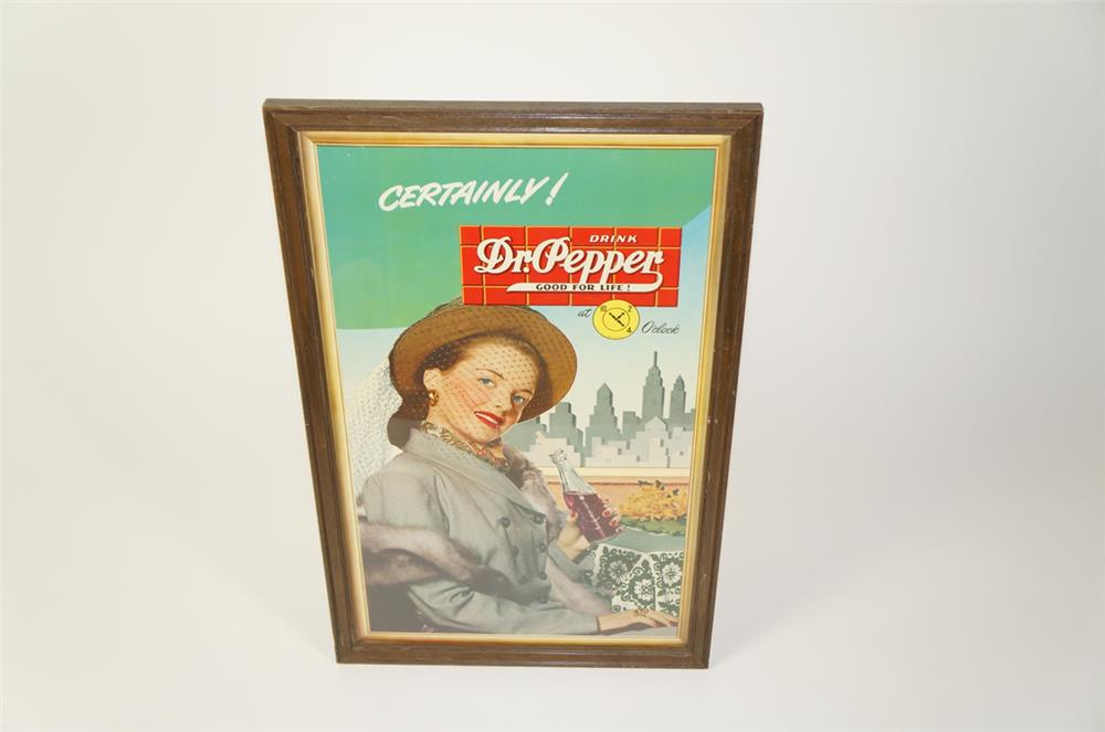 Wonderful late 1940s Dr. Pepper cardboard display sign featuring a metropolitan lady with bottle. - Front 3/4 - 184727