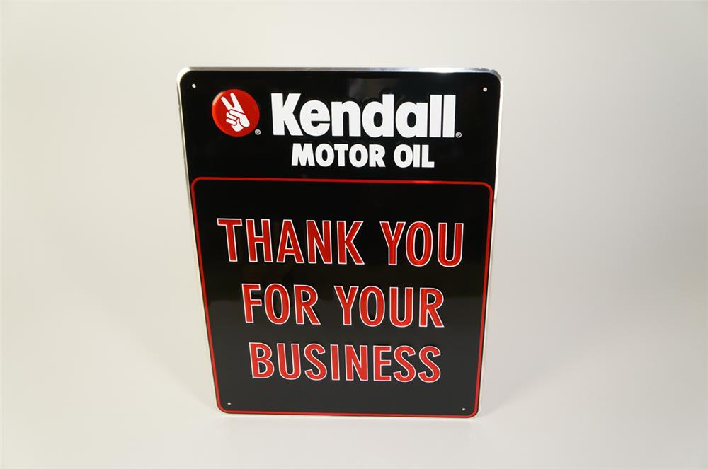 "NOS Kendall Motor Oil ""Thank You for Your Business"" single-sided embossed tin sign. - Front 3/4 - 184728"