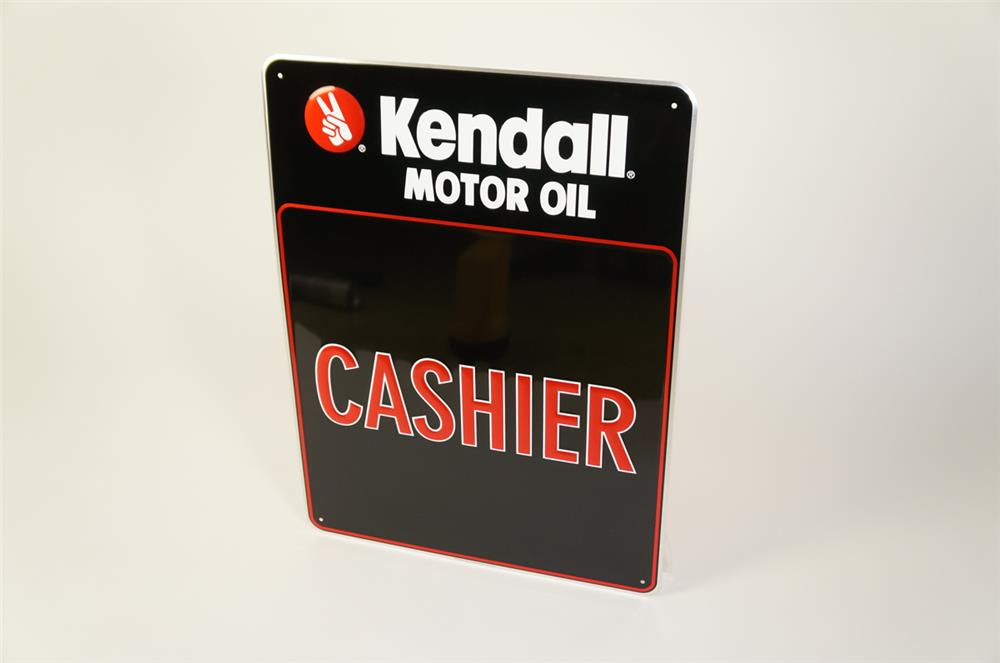 """NOS Kendall Motor Oil """"Cashier"""" single-sided embossed tin sign. - Front 3/4 - 184729"""