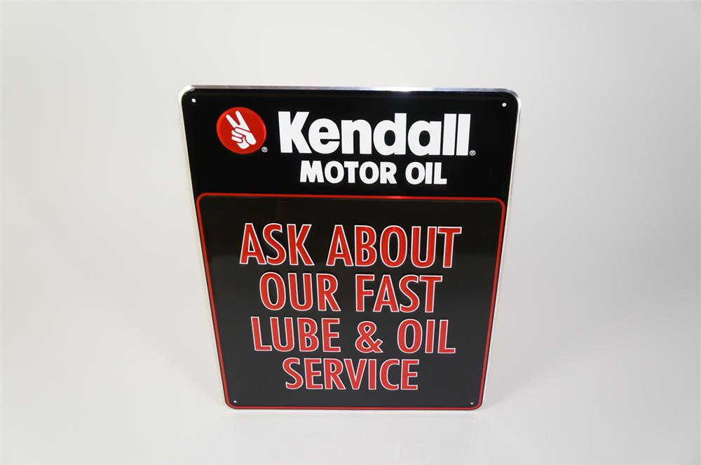 "NOS Kendall Motor Oil ""Ask About Our Fast Lube"" single-sided embossed tin sign. - Front 3/4 - 184730"