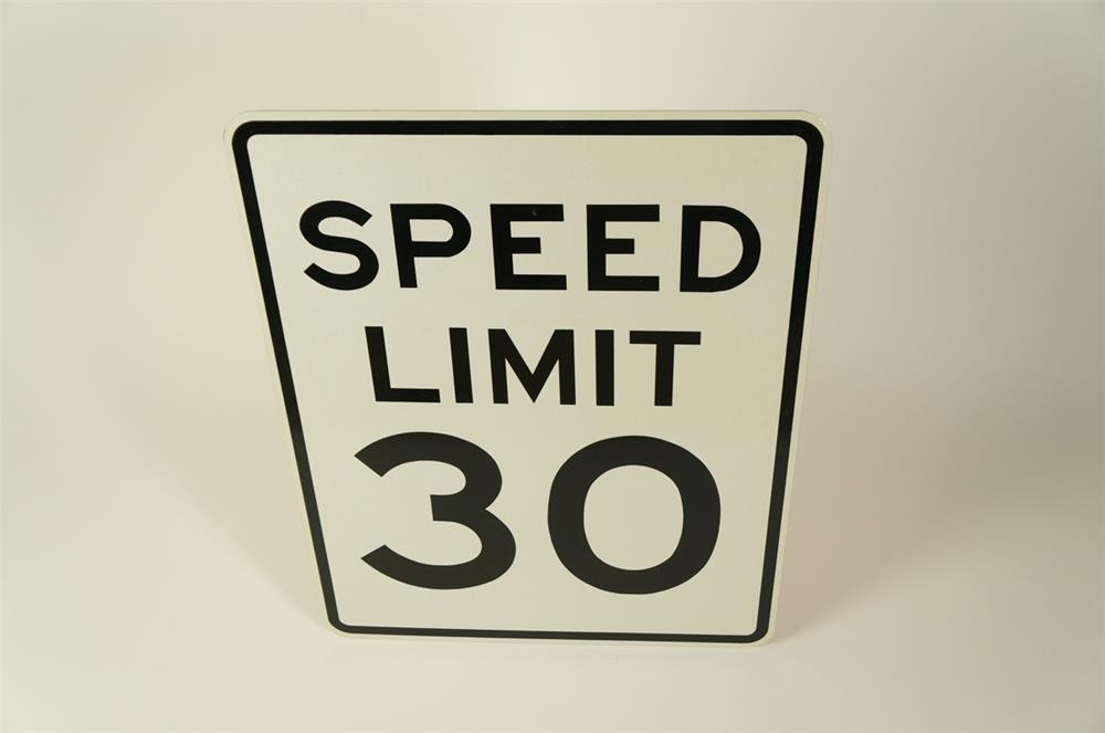 NOS Speed Limit 30 metal highway road sign. Found unused. - Front 3/4 - 184731