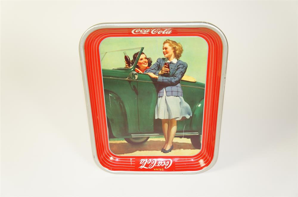 Lovely 1942 Coca-Cola two girls at car soda tray with wonderful period artwork. - Front 3/4 - 184735