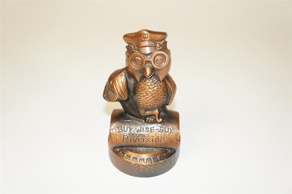 "1940s Wards Riverside Tires ""Buy Wise-Buy Wards"" cast metal three dimensional owl coin bank. - Front 3/4 - 184736"
