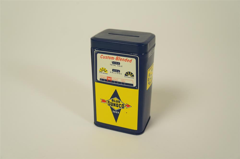 NOS 1960s Sunoco Gasoline promotional Custom-Blended gas pump shaped tin coin bank. - Front 3/4 - 184737