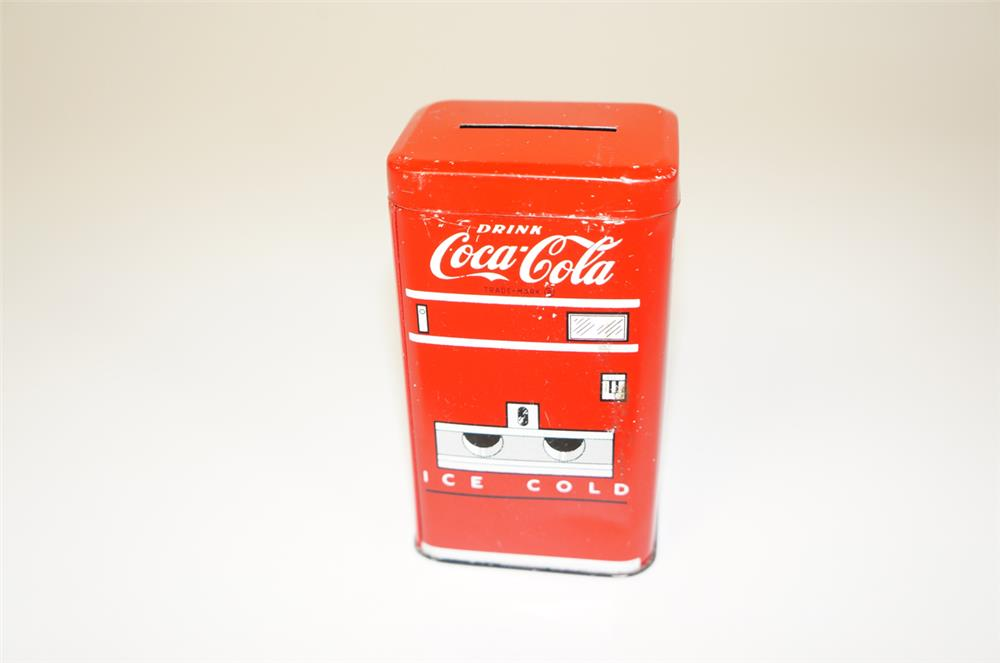NOS 1950s Drink Coca-Cola promotional soda machine shaped tin coin bank. - Front 3/4 - 184738