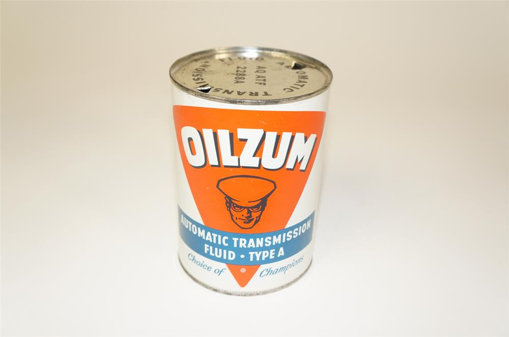 1950s Oilzum Automatic Transmission Fluid metal quart can. - Front 3/4 - 184740