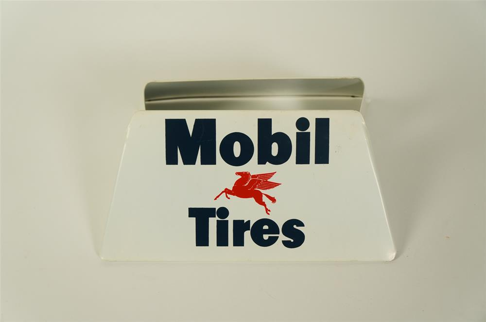 Sharp NOS 1950s Mobil Oil service station metal tire display with Pegasus logo. - Front 3/4 - 184750