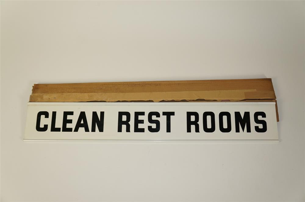 """NOS 1950s Firestone """"Clean Rest Rooms"""" double-sided tin service station sign. - Front 3/4 - 184753"""