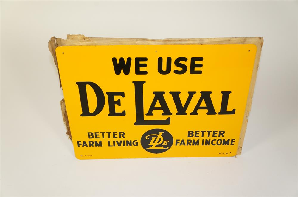 NOS 1950s We Use Delaval single-sided tin sign found in the original paper! - Front 3/4 - 184754