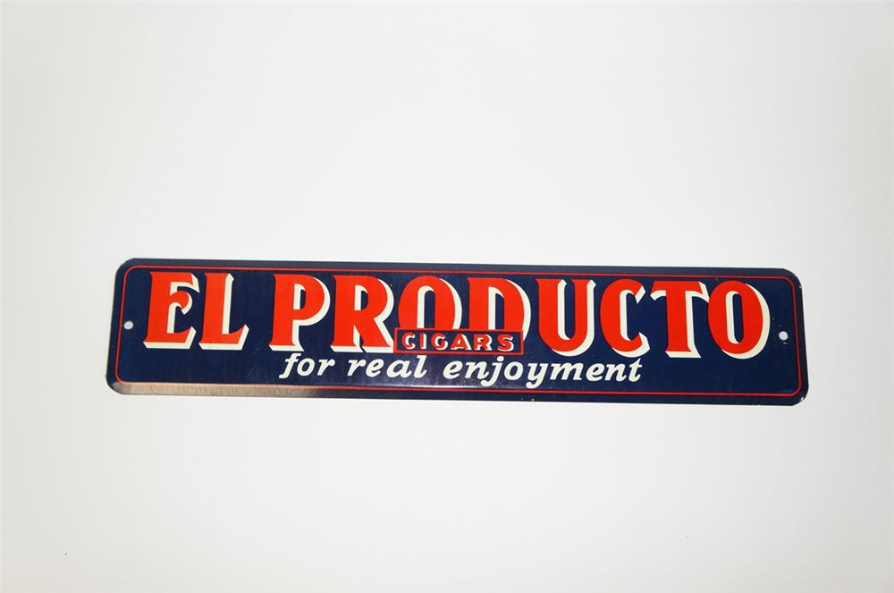 NOS 1930s El Producto Cigars single-sided tin push plate. Found unused! - Front 3/4 - 184755