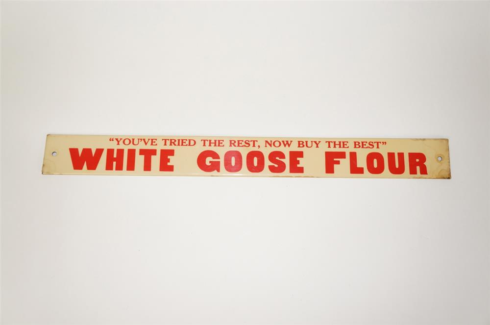 NOS 1930s White Goose Flour single-sided tin push plate sign. - Front 3/4 - 184756