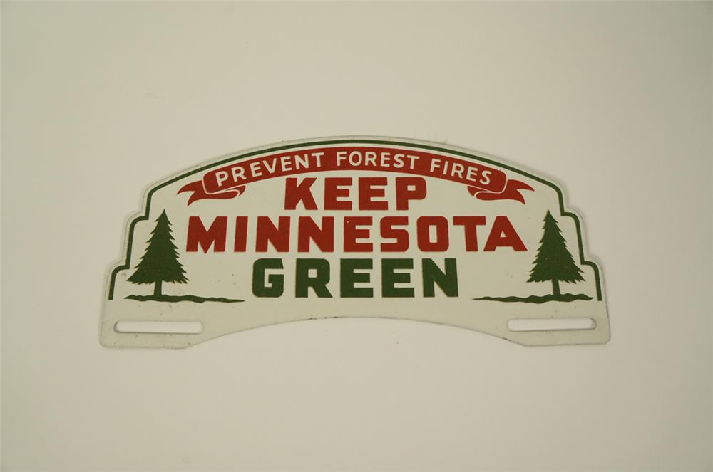 1930s-40s Keep Minnesota Green metal license plate attachment sign. - Front 3/4 - 184761