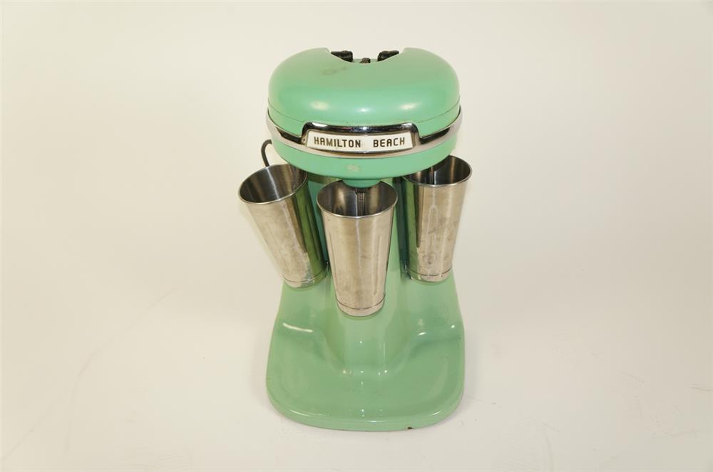 Choice 1940s-50s Hamilton Beach porcelain coated triple head soda fountain malt mixer. - Front 3/4 - 184763