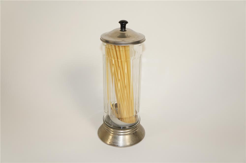 Nifty period glass cylindered soda fountain countertop straw dispenser. - Front 3/4 - 184764