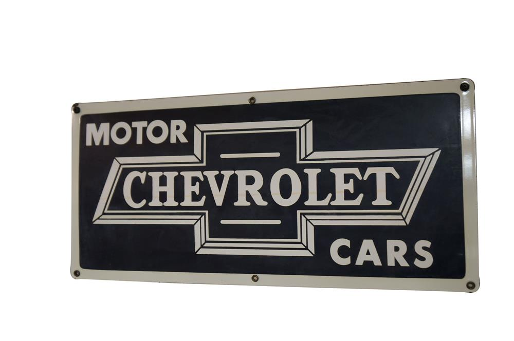Scarce 1940's Chevrolet Motor Cars single-sided porcelain dealership sign with bowtie logo. - Front 3/4 - 184765