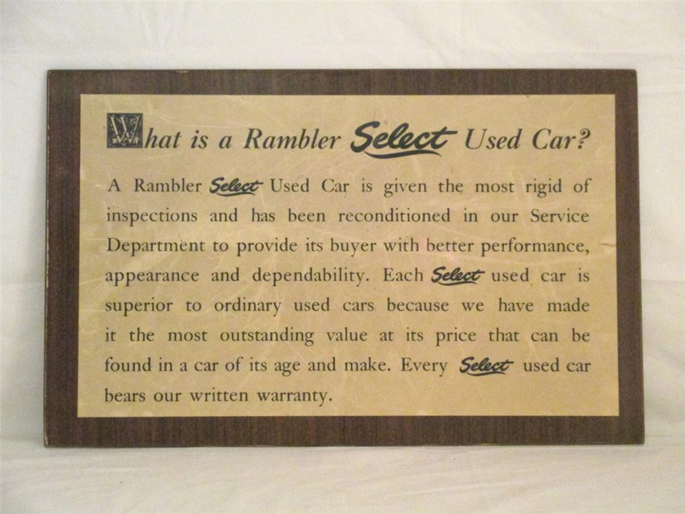 """Uncommon 1950's """"What is a Rambler Select Used Car?"""" dealership showroom display sign on Masonite board. - Front 3/4 - 184792"""