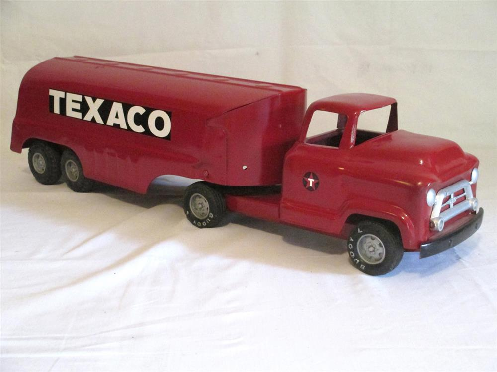Restored original 1953 Buddy L Chevrolet Texaco tanker truck and trailer - Front 3/4 - 184793