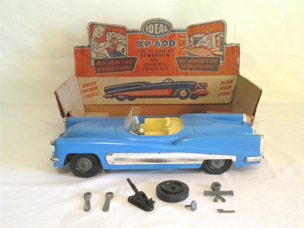 """Neat 1954 Ideal """"XP 600 Fix It Car of Tomorrow"""" with wheel and tire Change tools in the original display box. - Front 3/4 - 184794"""
