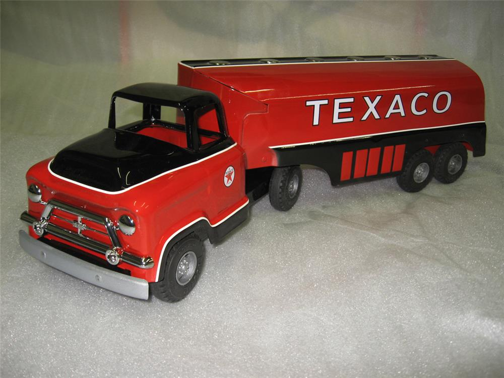 Absolutely fabulous 1950s restored Buddy L GMC Texaco Tanker toy truck. Over 50 years olds! - Front 3/4 - 184804
