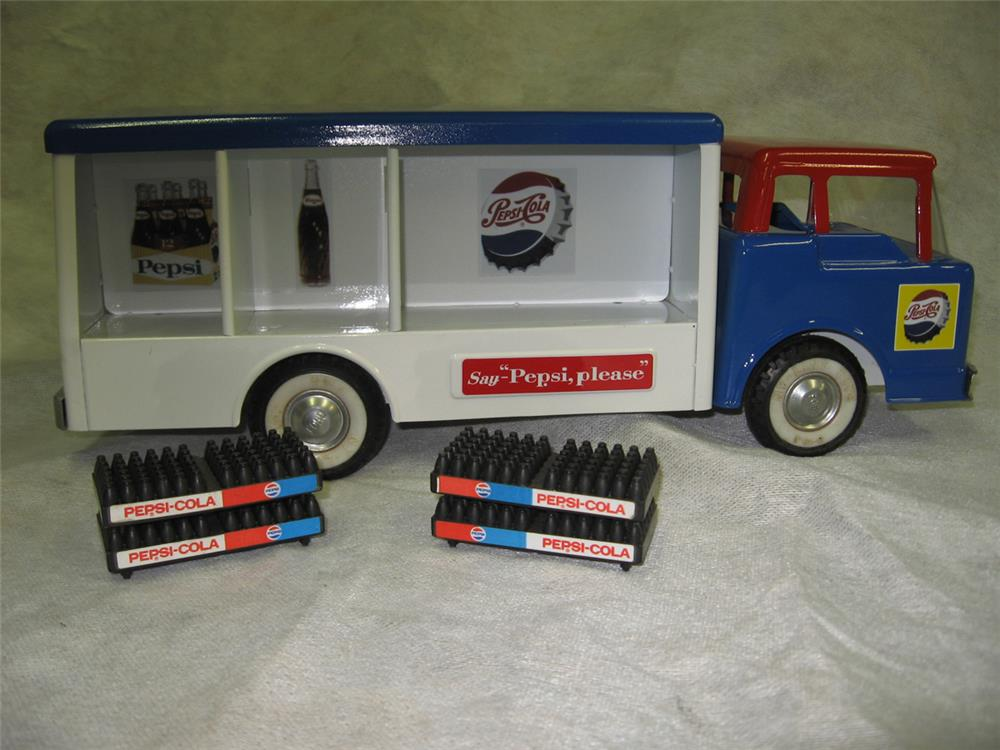 Gorgeous restored 1950s Ford cab over Pepsi delivery truck with cases. - Front 3/4 - 184807