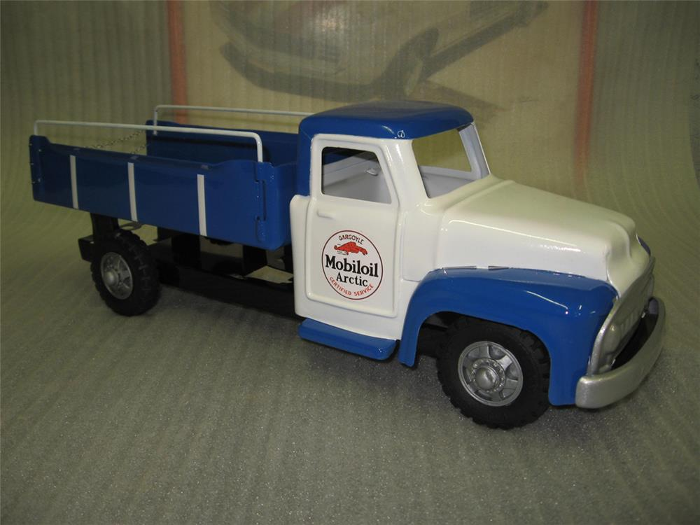 Custom painted 1950s Buddy L delivery truck restored in Mobil Oil regalia. - Front 3/4 - 184809