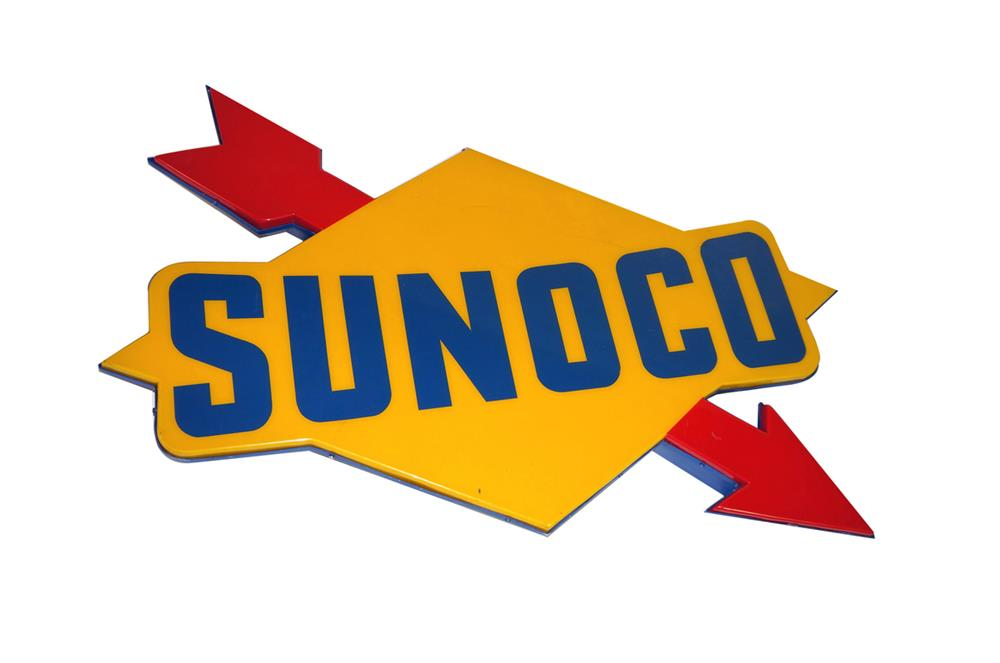 Terrific vintage Sunoco Oil single-sided light-up service station sign. - Front 3/4 - 184821