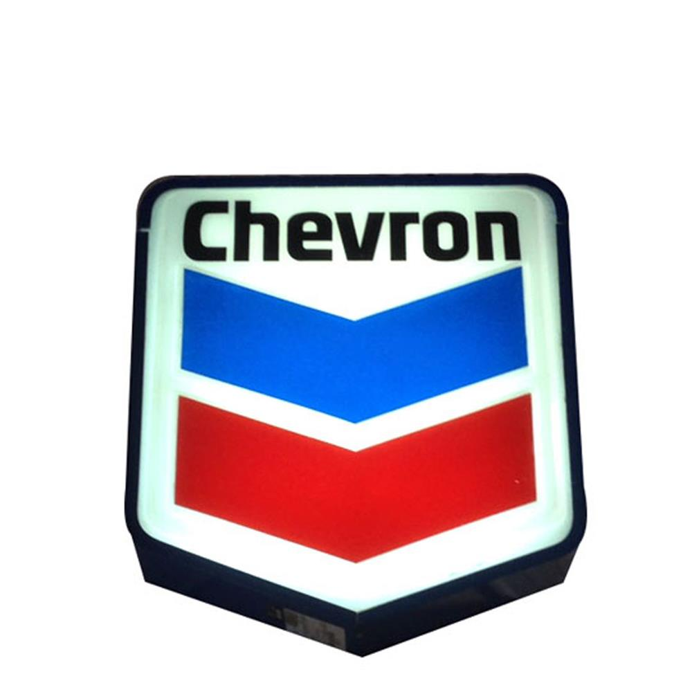 Nice size Chevron Oil single-sided light-up service station sign with logo. - Front 3/4 - 184823