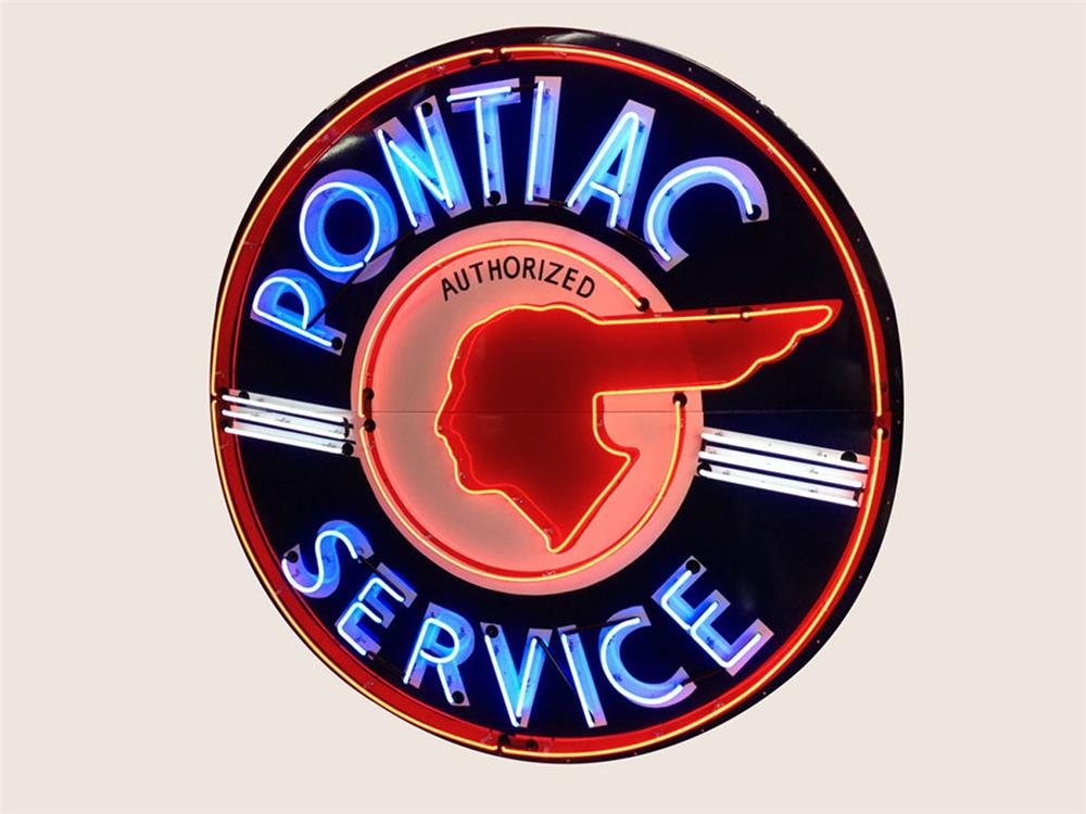 Lot #5893.1 Extremely rare 1940's Pontiac Automobiles single-sided neon porcelain dealership sign